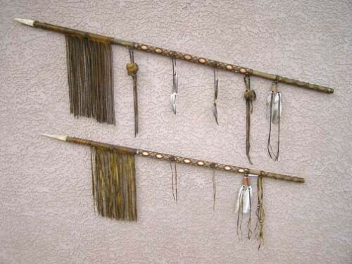 """NATIVE American MADE Tohono O'odham Old Style War Lance and Spear 55/"""" LONG"""