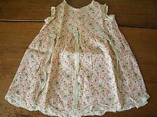 Vintage Handmade Baby Infant Doll Dress - Floral w/ satin & lace (BC18)
