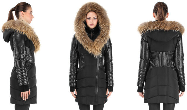 AUTHENTIC Rudsak Shauna Leather Sleeves Down Parka Winter With Fur Trim NWT
