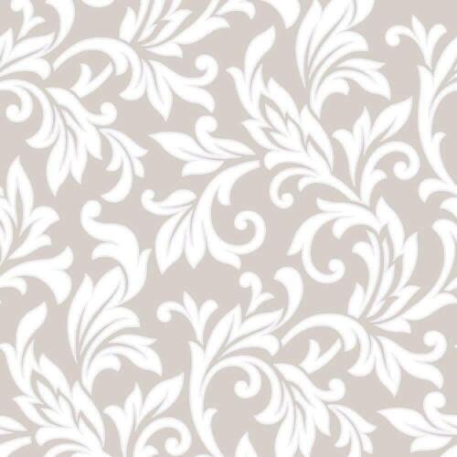 Argent Rasch 309843 Floral Damas Peint Paillettes Taupe Métallique