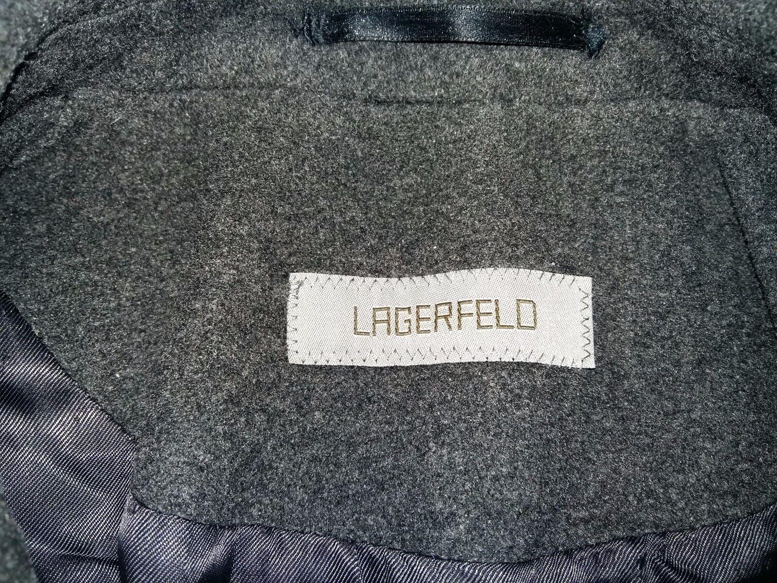 Lagerfeld rare mens solid luxury dark grey wool cashmere coat size 50 (L)