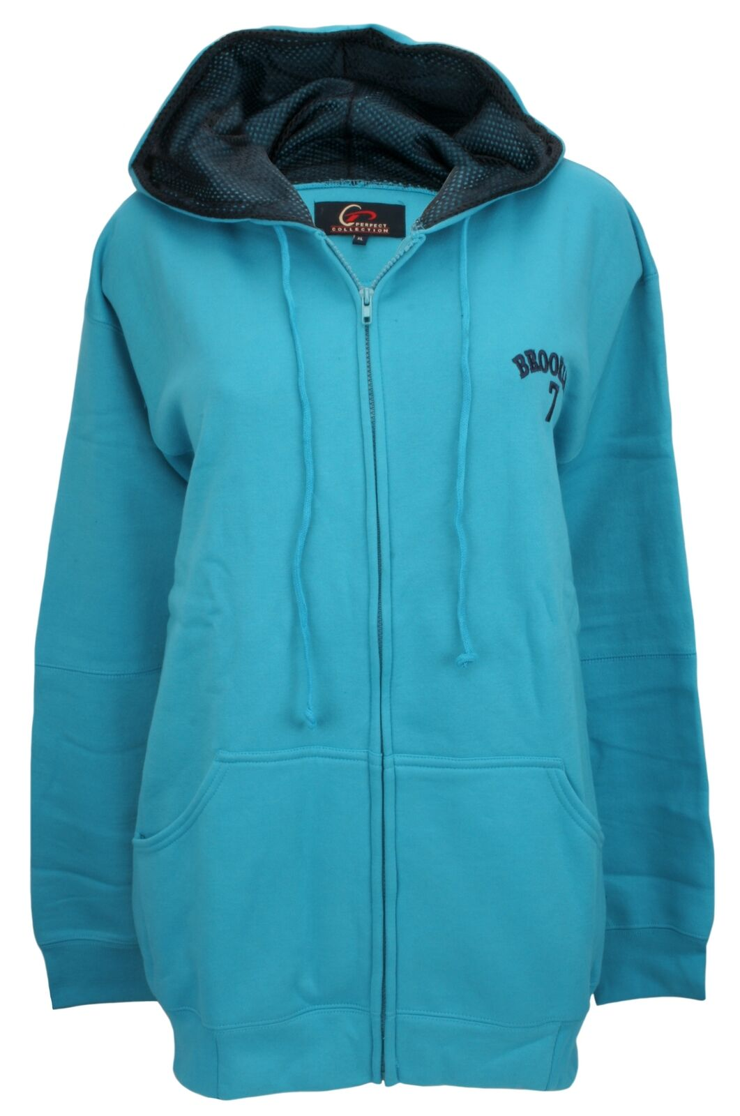 Perfect Collection Embroiderot Brooklyn Hoodie Turquoise Blau