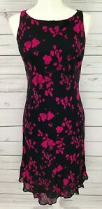 Jones-New-York-Womens-Black-Pink-Dress-6-Rose-Floral-Print-Sleeveless-Sheath