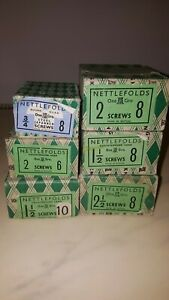 VINTAGE-NETTLEFOLDS-STEEL-COUNTERSUNK-SLOTTED-GKN-WOOD-SCREWS-SIZES-12-10-8-6
