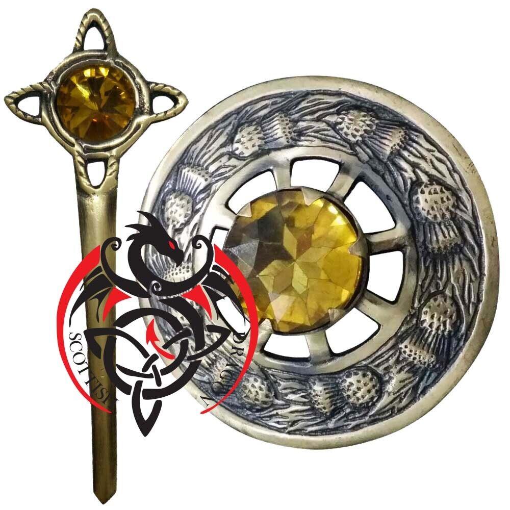 Highland Fly Plaid Brooch Yellow Stone Antique Finish Scottish Kilt Pin Brooches