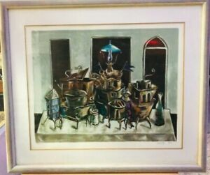 Legendary-Yosl-Bergner-Limited-100-pc-signed-large-Lithography-Framed-W-glass