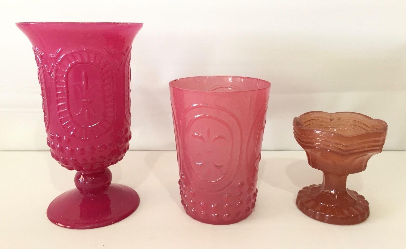 NEW Pottery Barn Pressed Glass Votives, SET OF 3