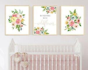 3 Bohemia Floral Vivero impresiones ella es una niña de flores silvestres Arte tipografía Decoración 629-A