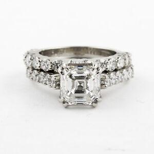 Diamante-Set-Nupcial-Anillo-4-50-Quilate-Asscher-y-Redondo-Corte