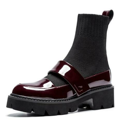 Women/'s Patent Leather Sock Boots Platform Mary Jane Shoes Trendy Ankle Heels