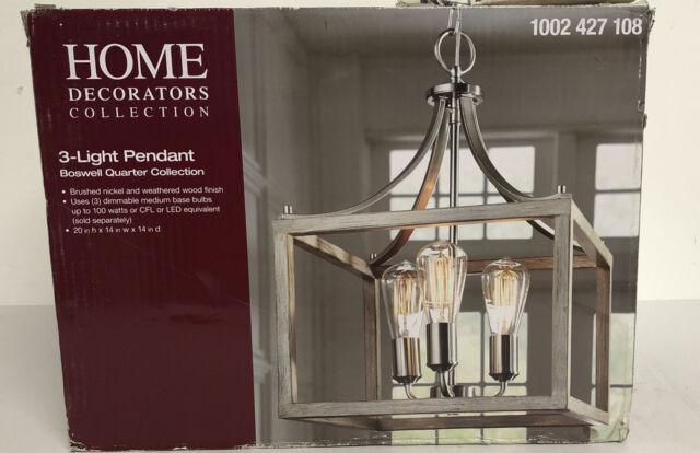 Home Decorators Boswell Quarter 3 Light Vintage Brass Pendant New Open Box For Sale Online