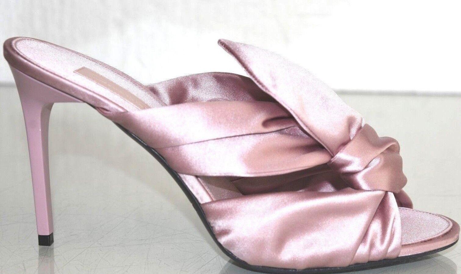 690 NEW Oscar de la Renta PEIGE MULES Satin Heels Mauve Pink Slides shoes 40