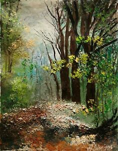 Landscape-Forest-Woods-Trees-Leaves-Path-ORIGINAL-OIL-PAINTING-Andre-Dluhos