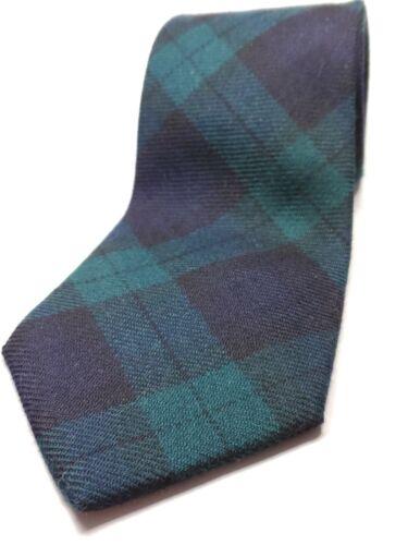 HUNTINGTON made in USA 100/% Wool Tie Men/'s NWOT Green Blue Black Plaid Necktie