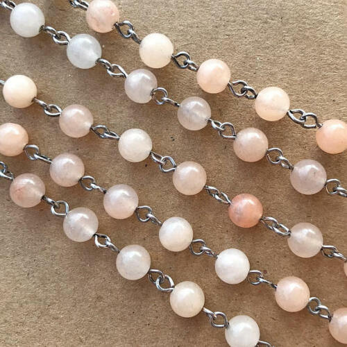 Peach Pink Aventurine Stone Beaded Rosary Silver Eyepin Chain 6mm 2 ft 66343