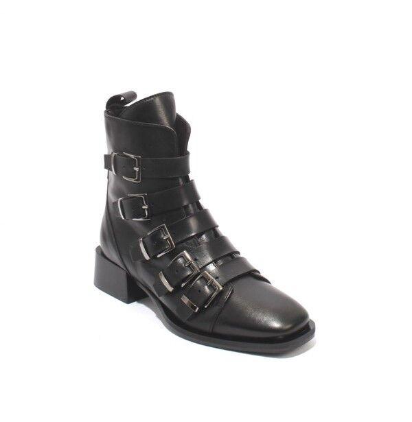 Laura Bellariva 2364 Black Leather Buckles Zip Zip Zip Ankle Boots  41   US 11 d90796