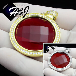 MEN-925-STERLING-SILVER-HIP-HOP-SILVER-GOLD-SMALL-BIG-ROUND-RUBY-PENDANT-SP98