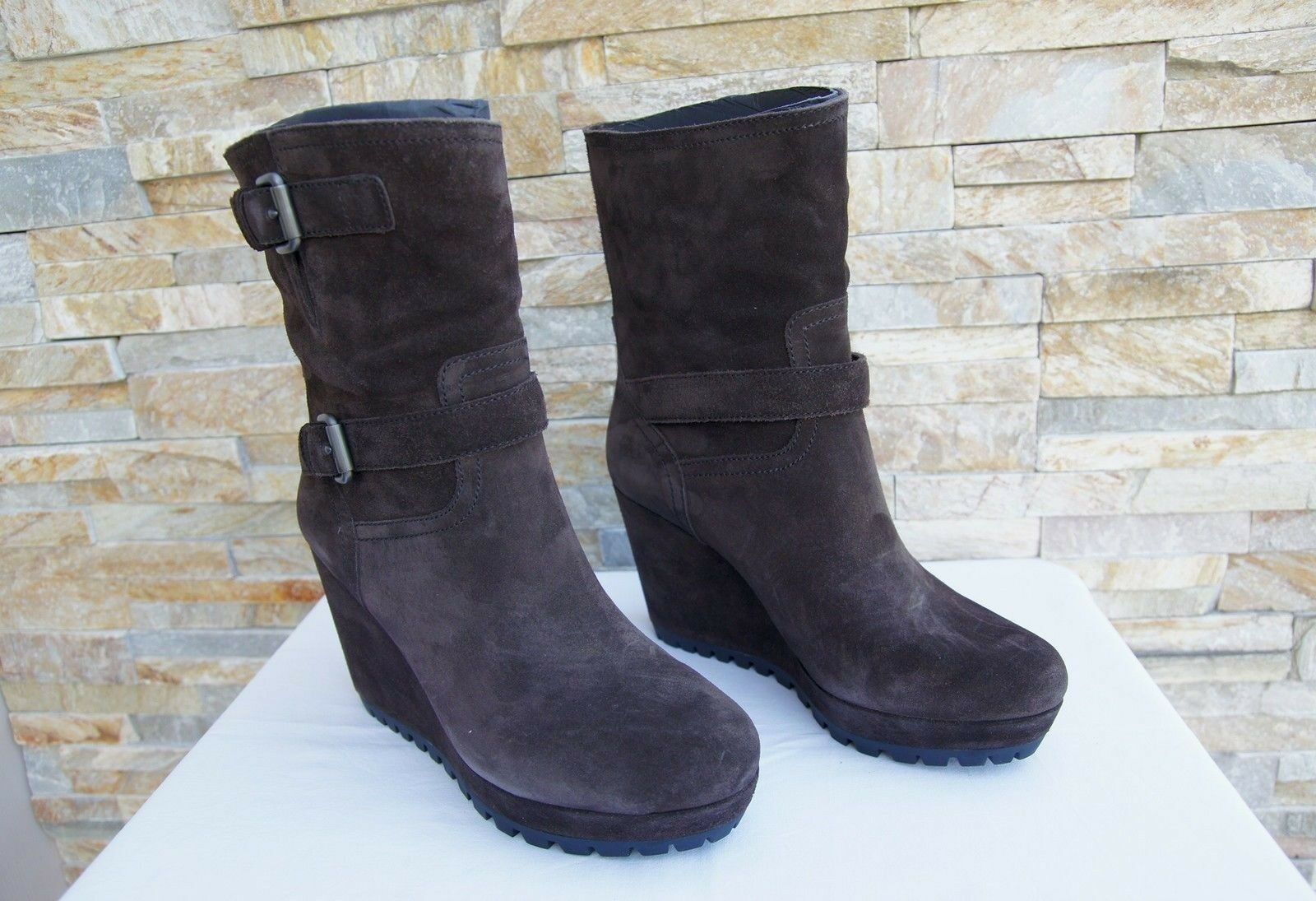 PRADA Gr 40 Keil Plateau Stiefeletten Booties Stiefel Schuhe Schuhe Schuhe braun neu d4e85c