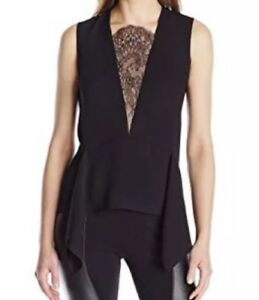 BCBG-Maxazria-Women-s-Blouse-Whitlee-Lace-Block-Top-Black-Sleeveless-Size-S