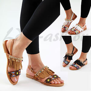 New Fringe Aztec Ankle Strap Flat Sandals Peep Toe Summer Womens Shoes