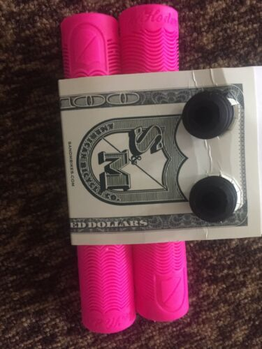 S/&M BIKES HODER BMX GRIPS HOT PINK BTM MIKE GRIP BAR BARS NO FLANGE FLANGELESS