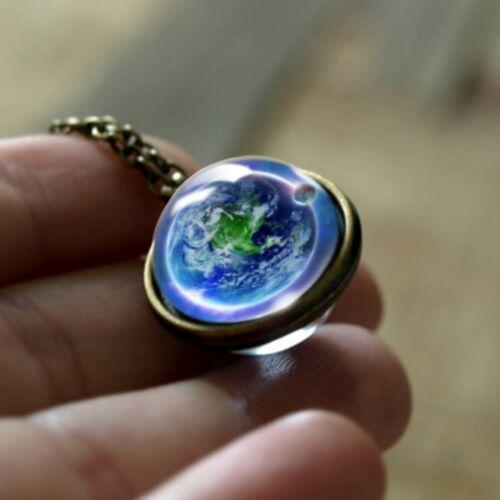 Fashion Double Face collier pendentif Univers Planète Jewelry Handmade Déclaration