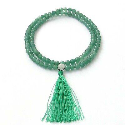 6mm Green Aventurine Gem Tibet Buddhist 108 Prayer Beads Mala Necklace