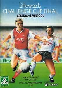 Football Programme Cover Reprints Arsenal v Liverpool Litlewoods Cup Final 1987