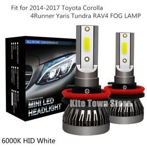 2x New H11 LED Fog Light Lamp DRL For 2009-2016 Toyota Corolla 6000K White Bulbs