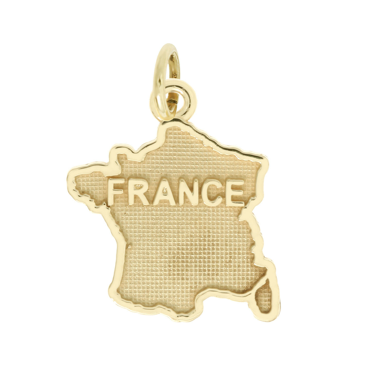 14Kt Yellow gold Polished Travel Map of France Charm Pendant