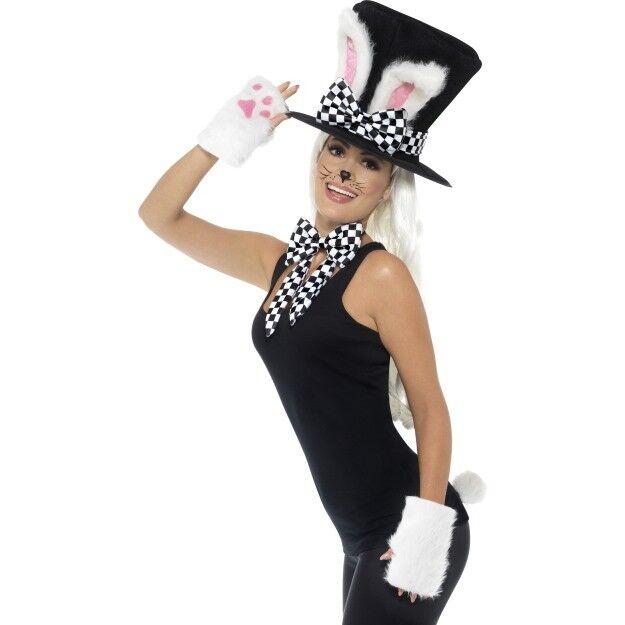 9c17baca7384 Mad Hatter Tea Party Kit Hat Ears Bow Tie Gloves Tail Adults Fancy Dress