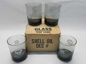 4-NFL-New-York-Giants-RARE-1970s-shell-oil-4-inch-Tumblers-smokey-gray-w-box