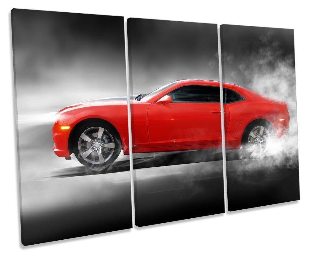 Fast Camaro Sports Car Bild TREBLE CANVAS Wand Kunst Drucken