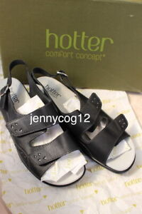 Hotter-Ladies-EASY-COMFORT-CONCEPT-Black-Open-Toe-Adjustable-Sandals-6-5-EXF