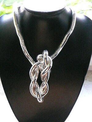 Biegsame Edelstahl Schlangenkette Halskette Kette Silber-Optik Neu
