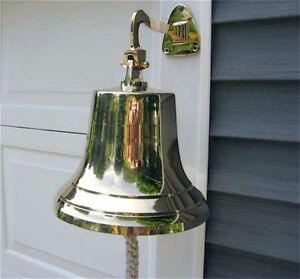 Ships-Bell-Large-Solid-Brass-w-Mounting-Bracket-NEW