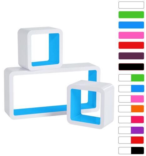 Wandregal 3er Set Bücheregal Hängeregal Cube CD Regal MDF Holz blau RG9229bl