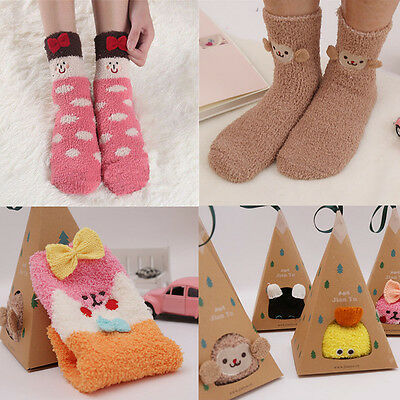 Women Coral Fleece Cartoon Terry Socks Room Warm Christmas Xmas Winter Gift Sock