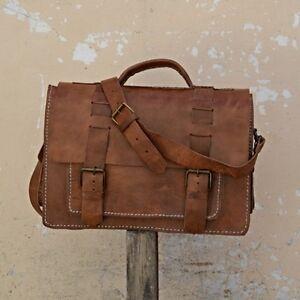 Aktentasche-Schultasche-Lehrertasche-Umhaengetasche-Leder-Tasche-Vintage-23-NEU