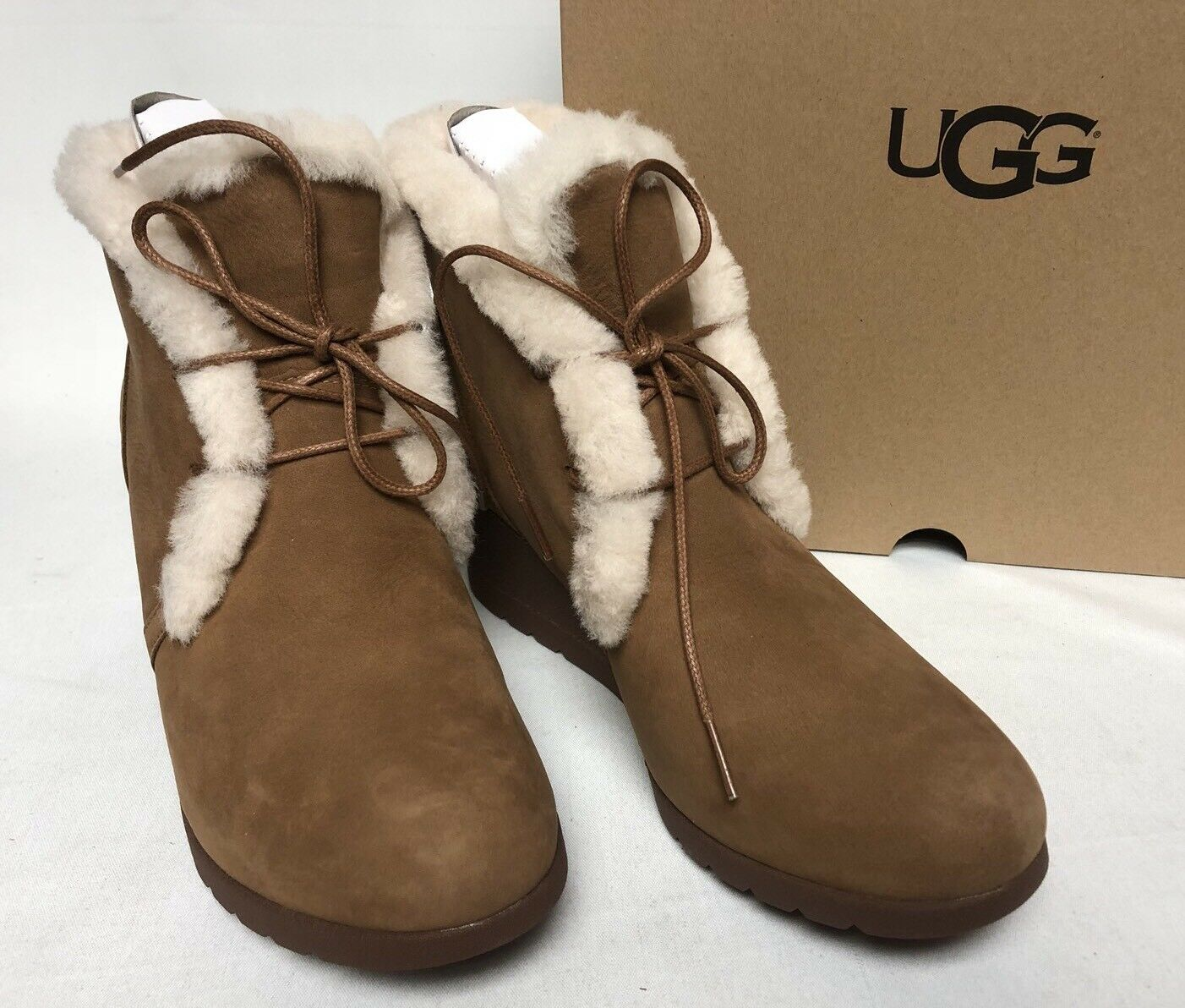 07591373b6f UGG Australia Jeovana Boots Chestnut Suede Waterproof WP 1017421 Wedge Lace  Up