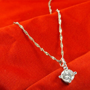 925-Sterling-Silver-PL-Round-Cubic-Zirconia-CZ-Crystal-Pendant-Necklace-17-7-034-UK