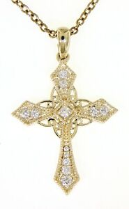 0.19CT 14K Solid 14K Yellow Gold Real Diamond Vintage Cross Religious Pendant