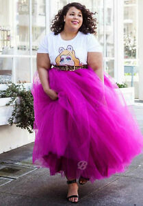 Details about Plus Size Hot Pink 5 Layers Tulle Skirt Summer Maxi Skirts  Tutu Pleated Skirt