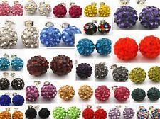 30 pair/lot 10mm mixed free shipping clay beads stud crystal shamballa earring