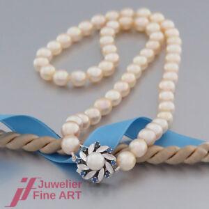 Schnaeppchen-Akoya-Perlen-Kette-mit-Verschluss-in-14K-585-Gold-Saphire-Perle