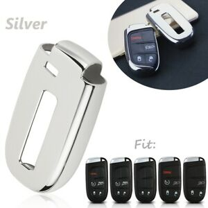 Silver-TPU-Remote-Smart-Key-Cover-Fob-Case-Shell-For-Dodge-Charger-Jeep-Chrysler