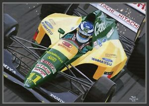 Painting-1992-Lotus-Ford-107-11-Mika-Hakkinen-FIN-by-Toon-Nagtegaal