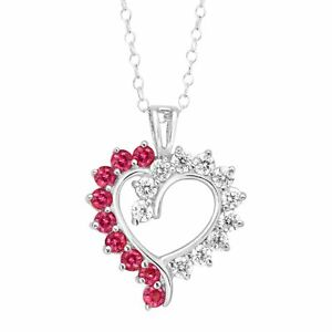 3-4-ct-Created-Ruby-amp-1-10-ct-Cubic-Zirconia-Open-Heart-Pendant-Sterling-Silver