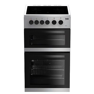 Beko KDC5422AS  A Rated 50cm Twin Cavity Ceramic Cooker in Silver 4 Burners