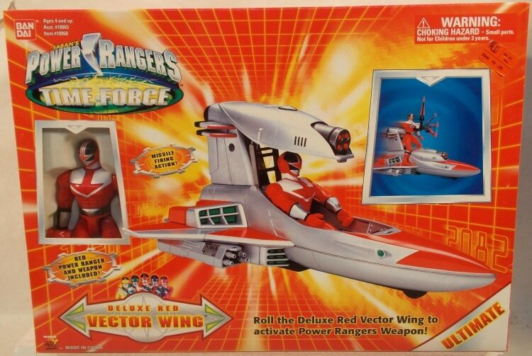 Power Rangers Rangers Rangers Time Force Vector Wing Vehicle With Exclusive Red Ranger Bandai 66f046